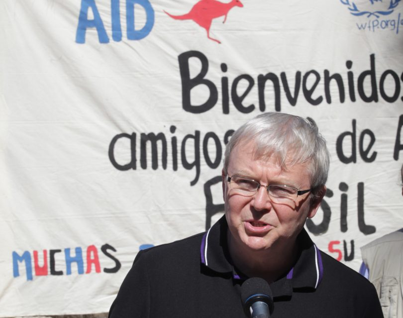 Photograph of Former Foreign Minister Kevin Rudd during a visit to El Penon village in Comasagua, El Salvador in 2011