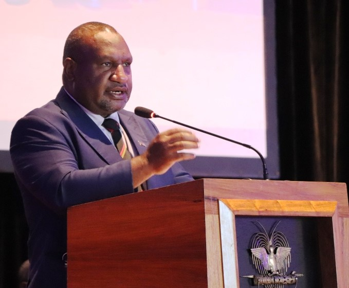 A photo of Prime Minister Hon. James Marape launching PNG's Infrastructure Development Programme in August 2020