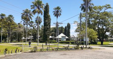 A photograph of the campus of Divine Word University in Papua New Guinea. In the foreground is a paved road, in the mid ground is a student with a backpack, in the background are buildings and signs. The grassed area is green and there are tall palm, and other, trees.