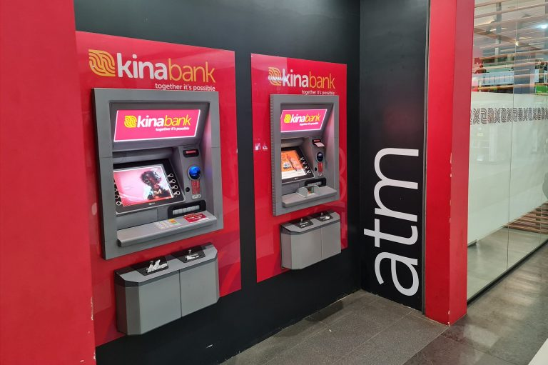 Photograph of two Kina Bank automatic teller machines in a Port Moresby shopping centre