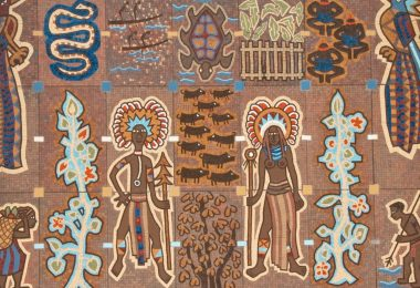 Part of a mural at PNG Parliament House (Marc Tarlock-Flickr)