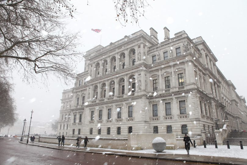 UK Foreign & Commonwealth Office in winter (FCDO-Flickr)