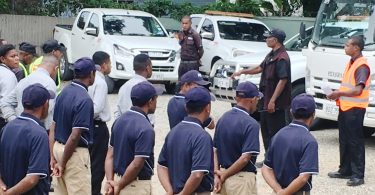 A photograph of Private security personnel in Port Moresby, PNG.